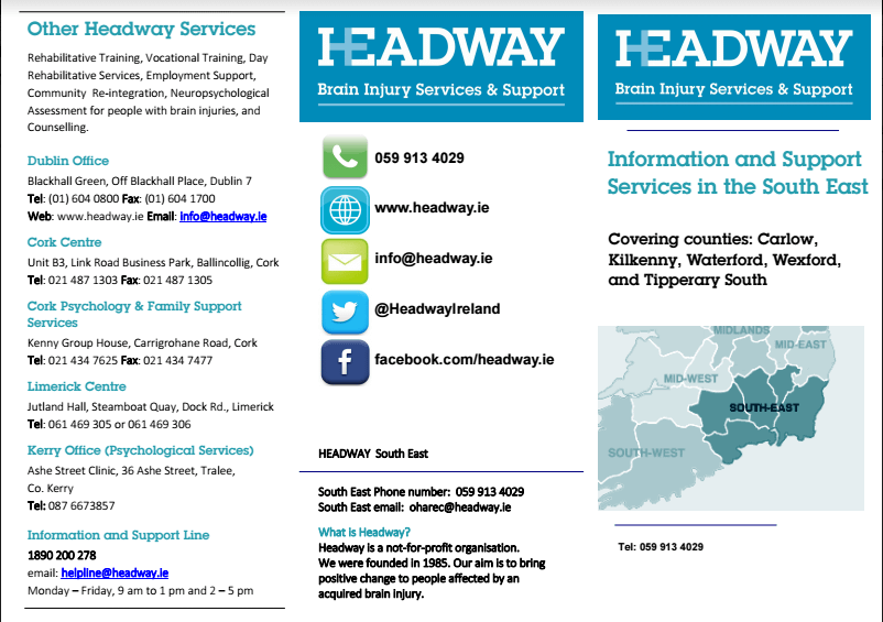 Services in the South East Region | Headway Ireland